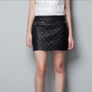 Zara Black Love Leather Quilted Mini Skirt L